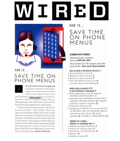 Please Press 1 features in Wired Magazine